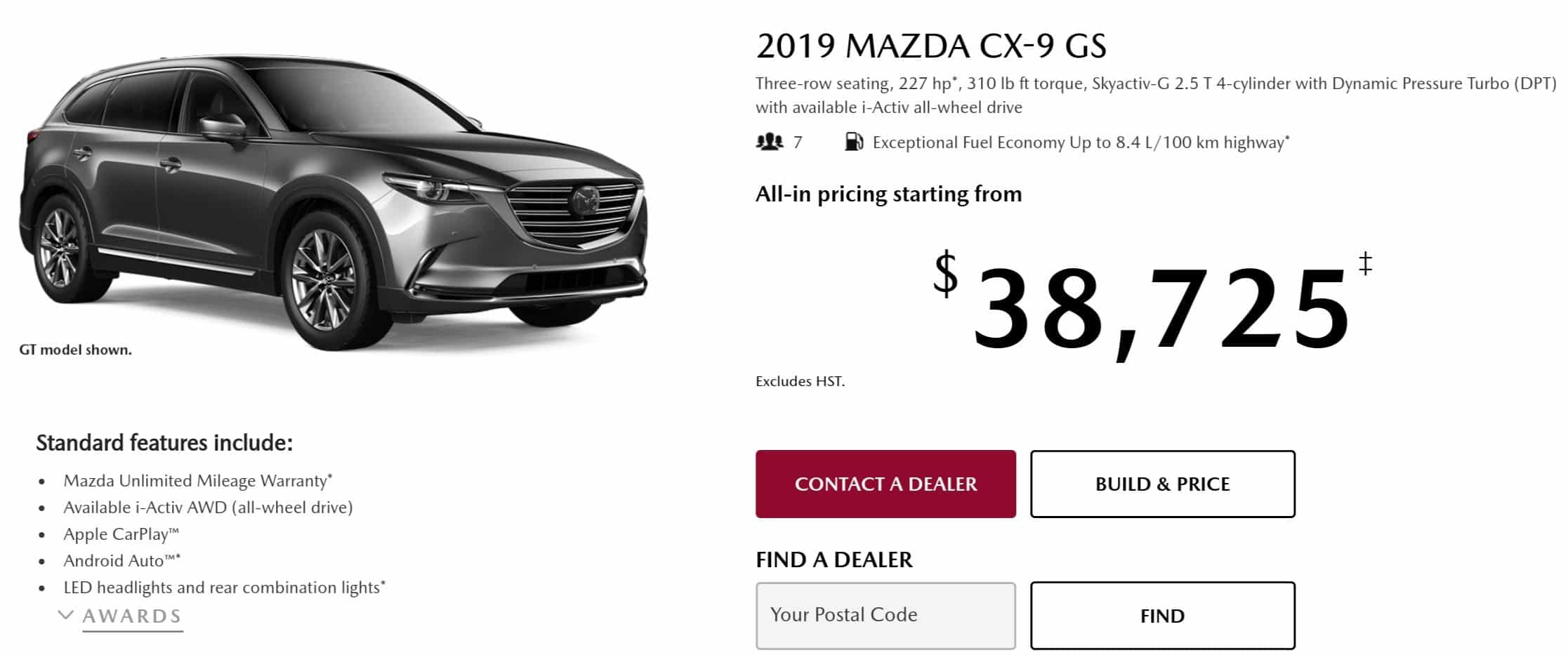 2019 Mazda CX 9 is one of the best 7 seater suv lease and finance deals