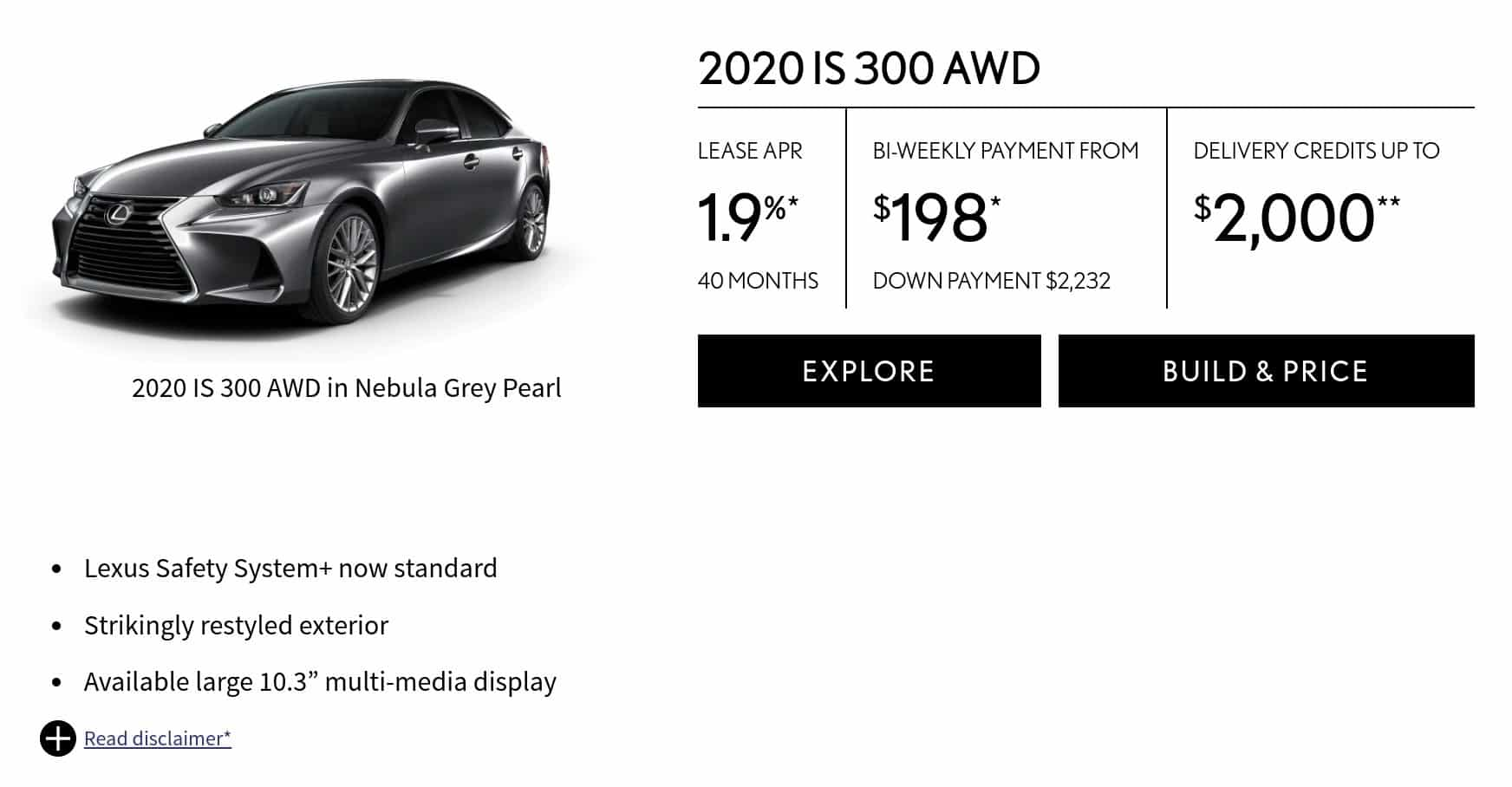 2020 Lexus IS 300 is one of the best new car deals in Canada