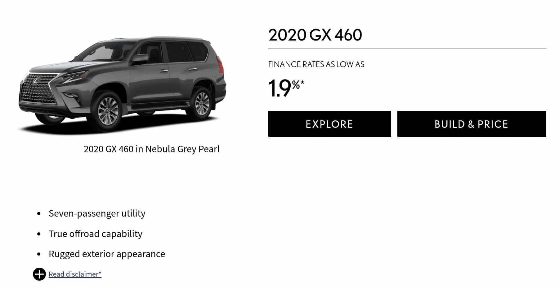 2020 Lexus GX460 is one of the best 7 seater suv lease and finance deals