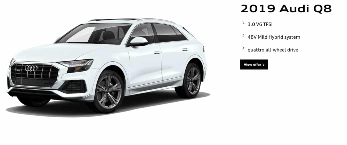 2019 Audi Q8 is one of the best 7 seater suv lease and finance deals