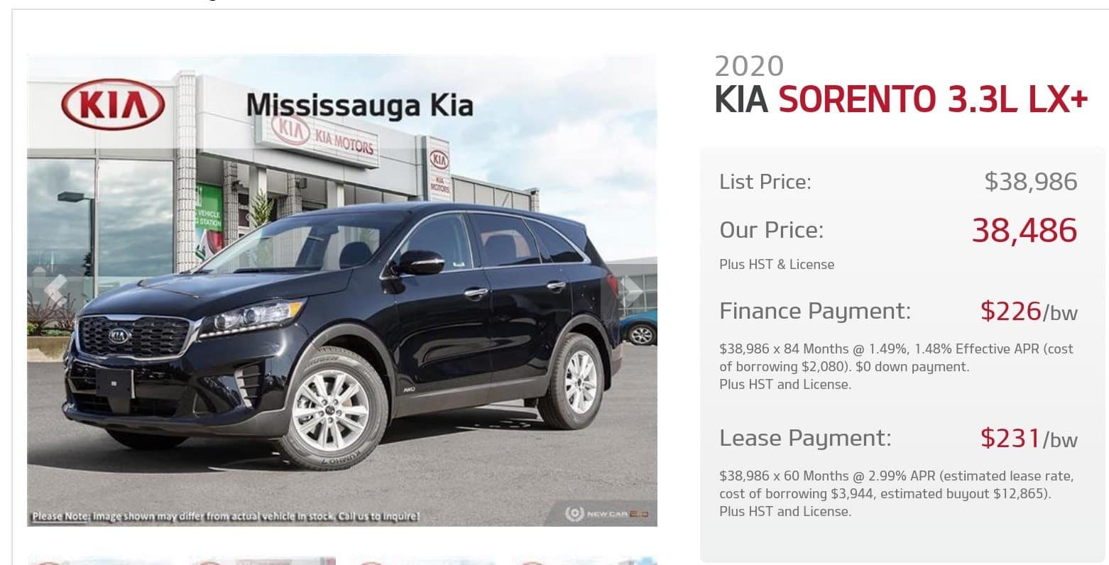 2020 Kia Sorrento is one of the best 7 seater suv lease and finance deals