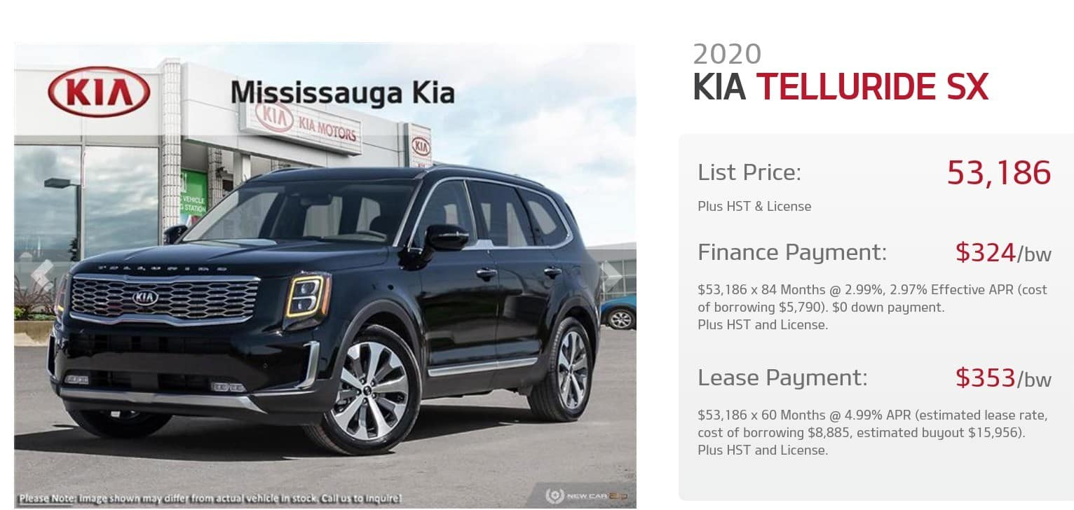 2020 Kia Telluride is one of the best 7 seater suv lease and finance deals