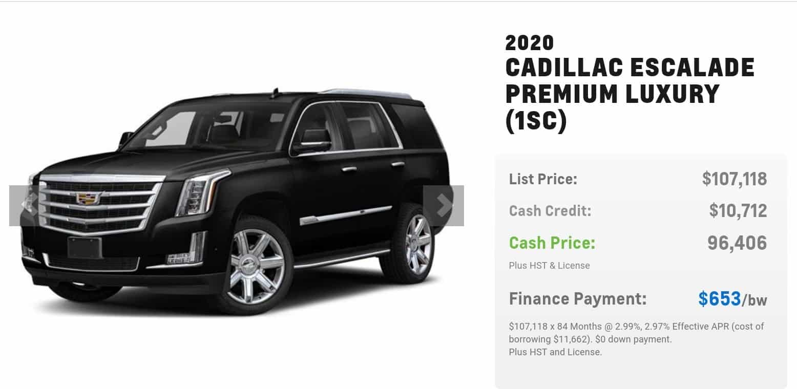 2020 Cadillac Escalade is one of the best 7 seater suv lease and finance deals