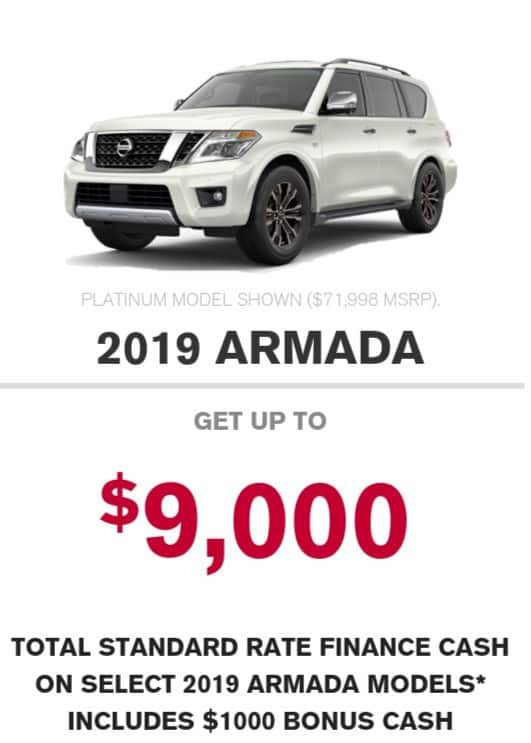 2019 Nissan Armada is one of the best 7 seater suv lease and finance deals