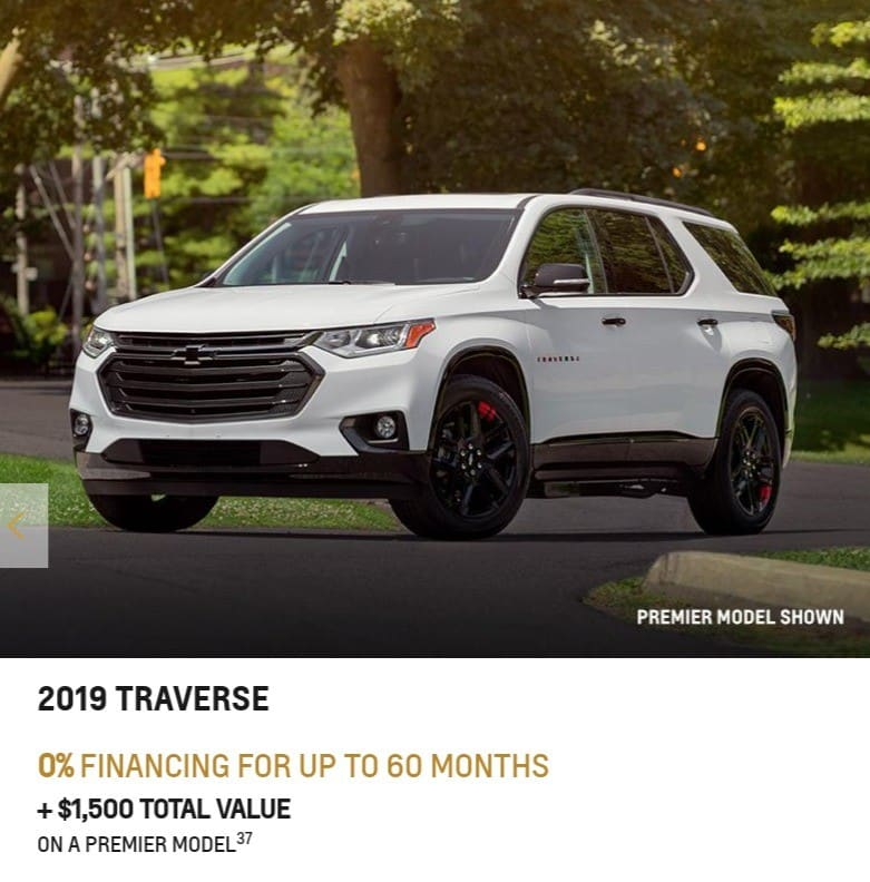 2020 Chevrolet Traverse is one of the best 7 seater suv lease and finance deals