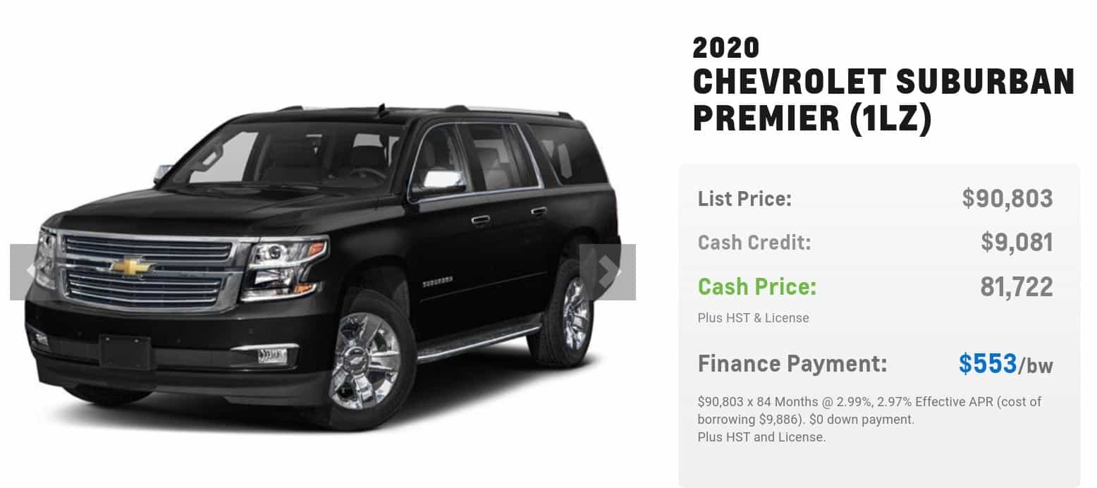 2020 Chevrolet Suburban is one of the best 7 seater suv lease and finance deals