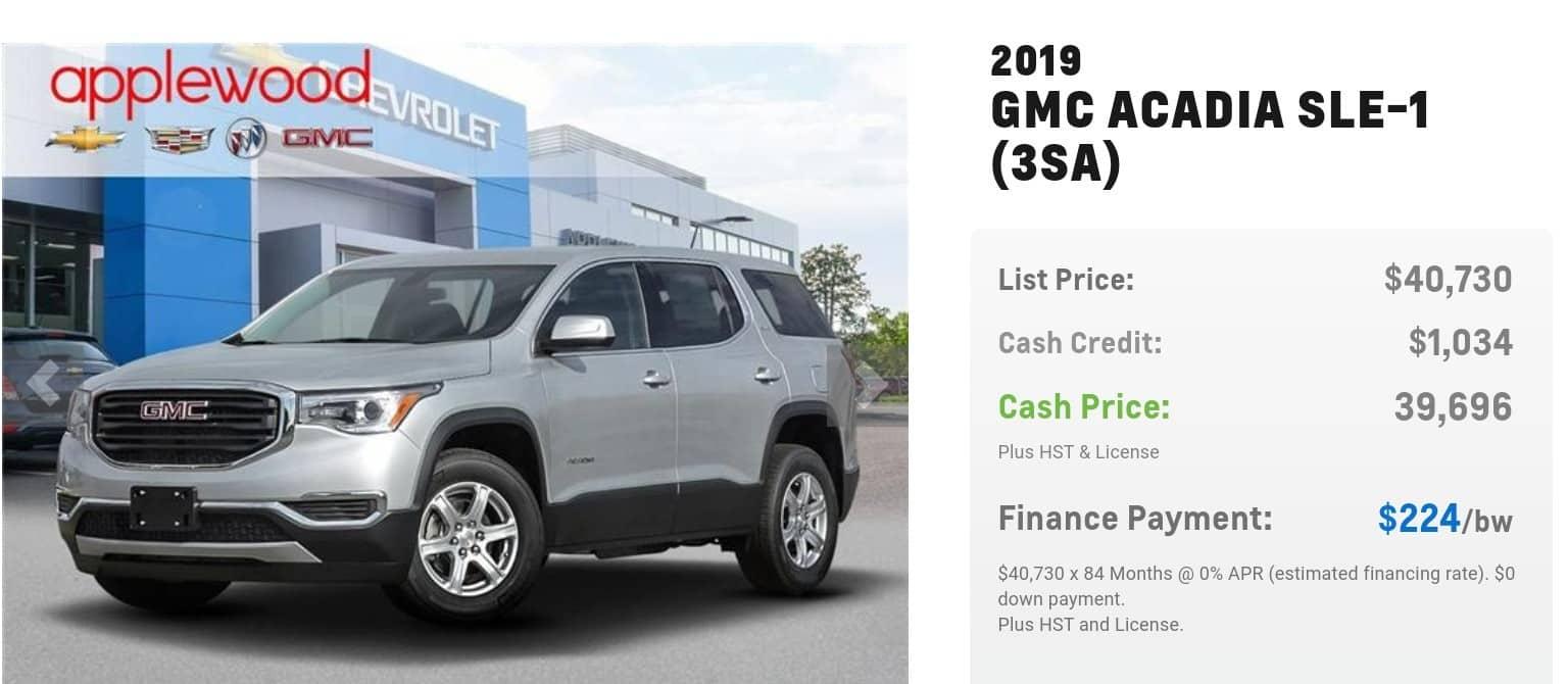 2019 GMC Acadia is one of the best 7 seater suv lease and finance deals