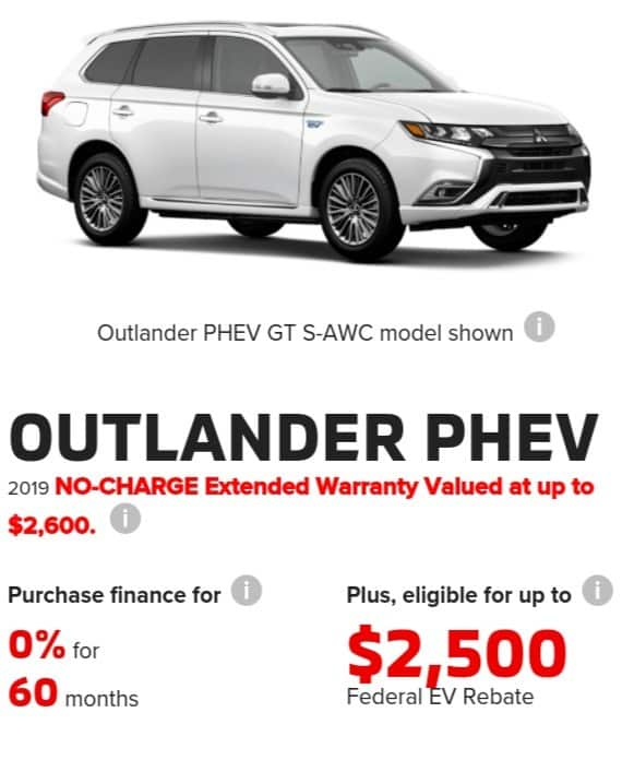 2019 Mitsubishi Outlander is a great electric car deal