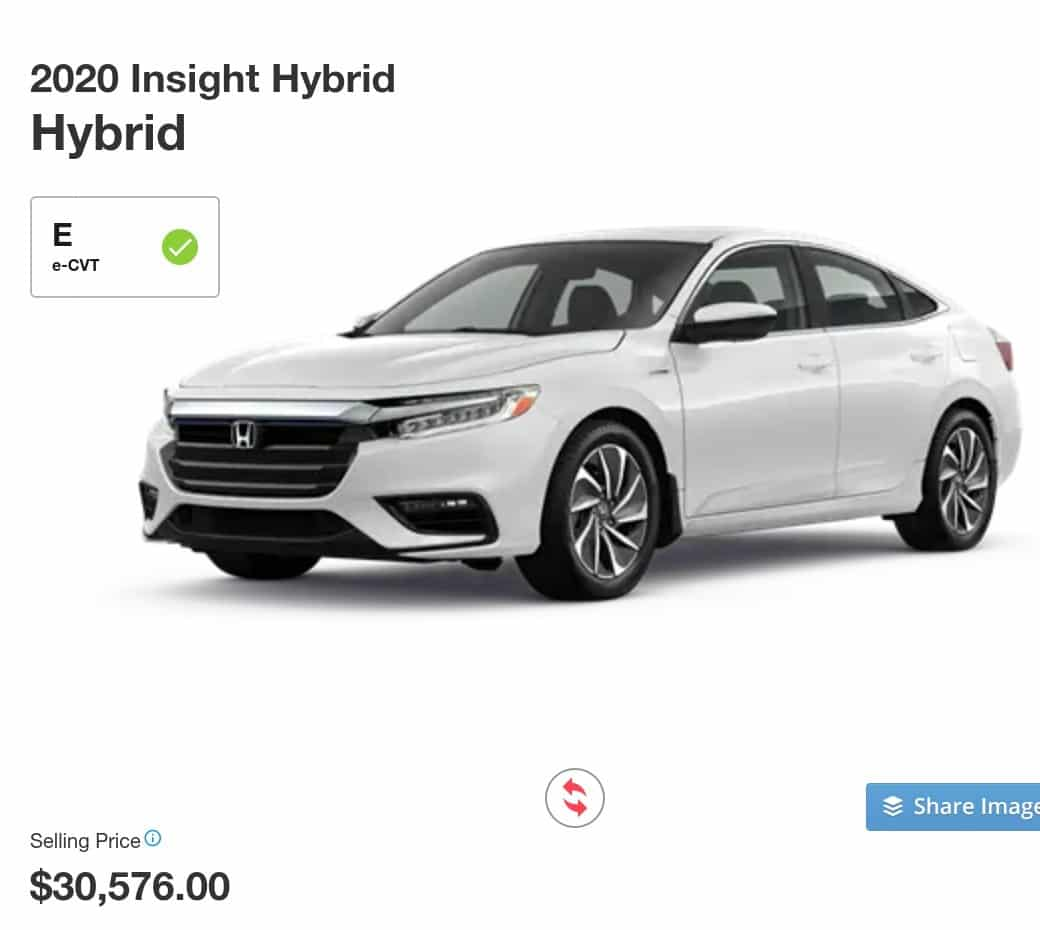 2020 Honda Insight Hybrid is a great electric car deal