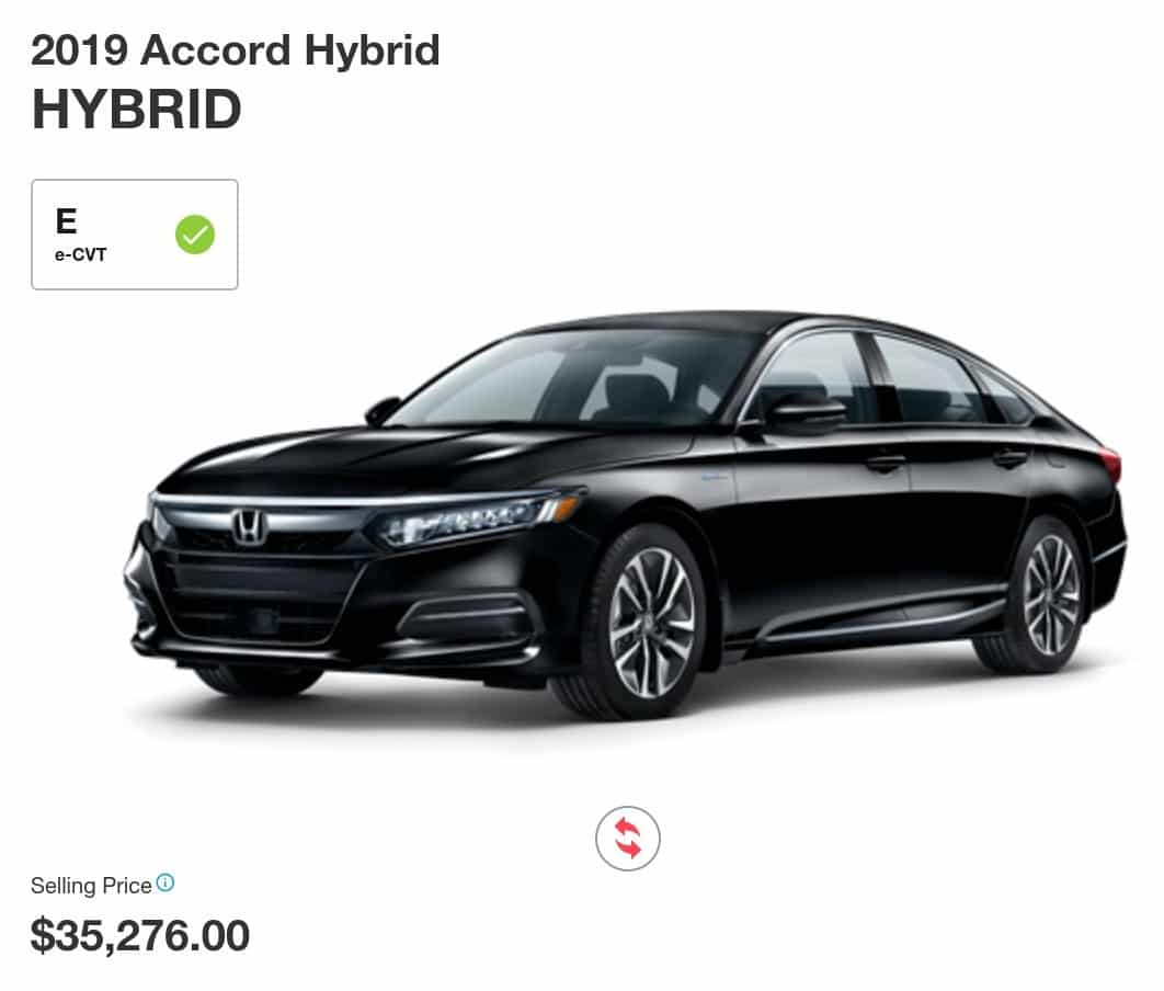 2019 Honda Accord hybrid is a great electric car deal