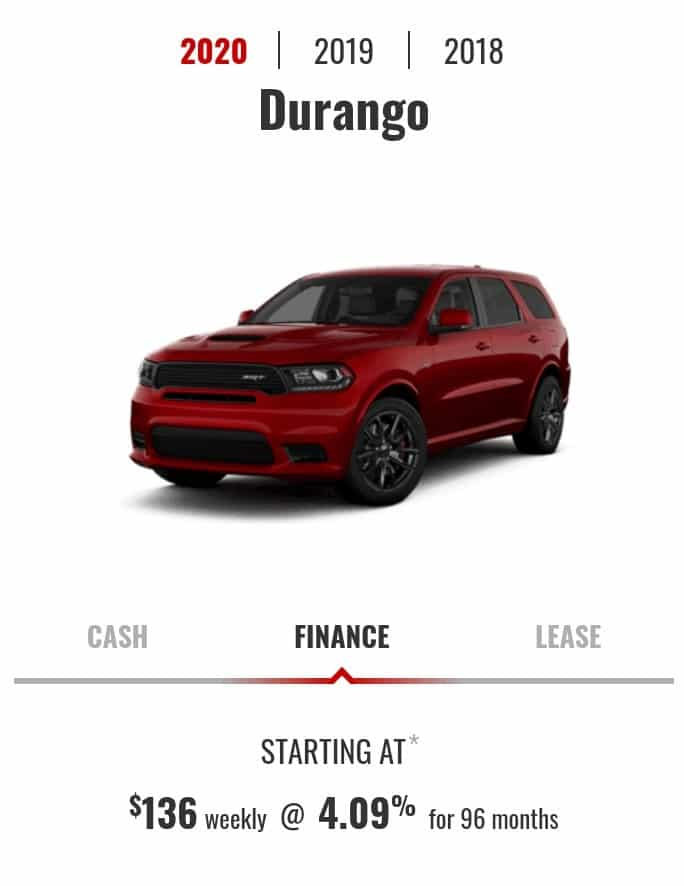 2020 Dodge Durango is one of the best 7 seater suv lease and finance deals