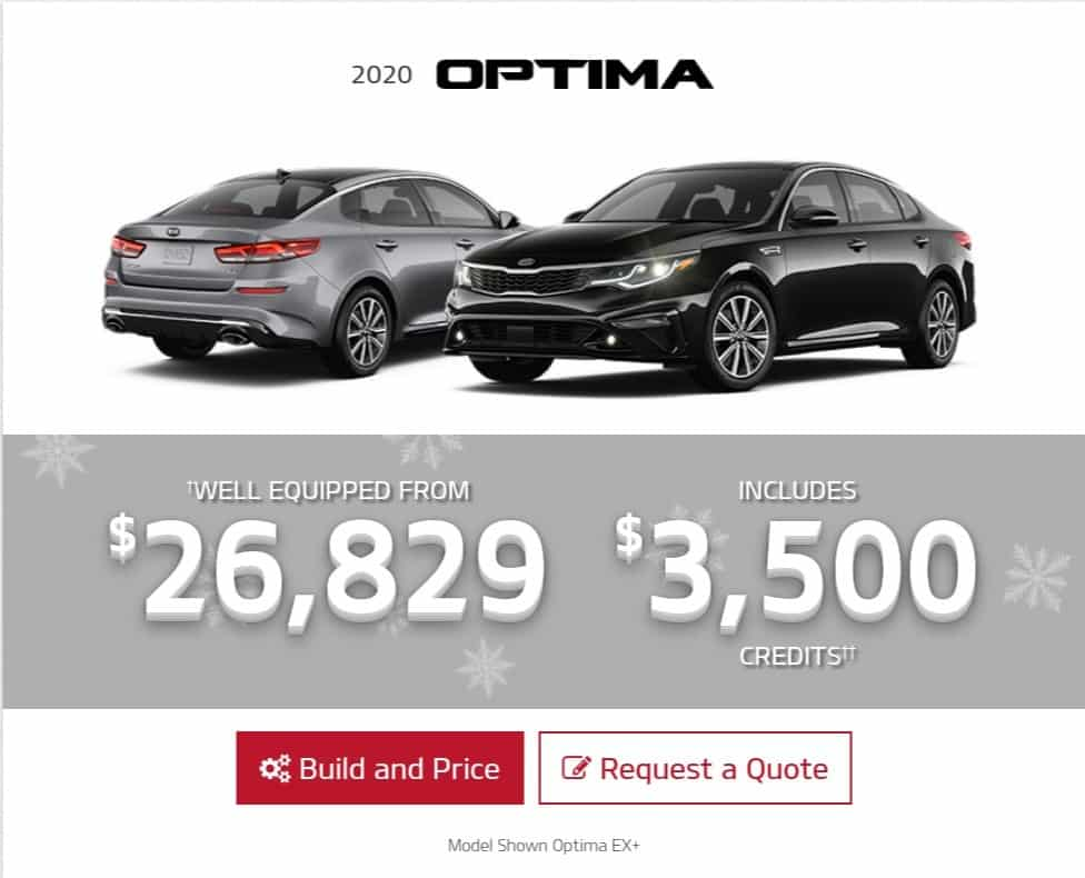 2019 Kia Optima is a great lease or finance deal in Canada