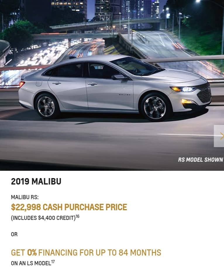 2019 Chevrolet Malibu is a great lease or finance deal in Canada
