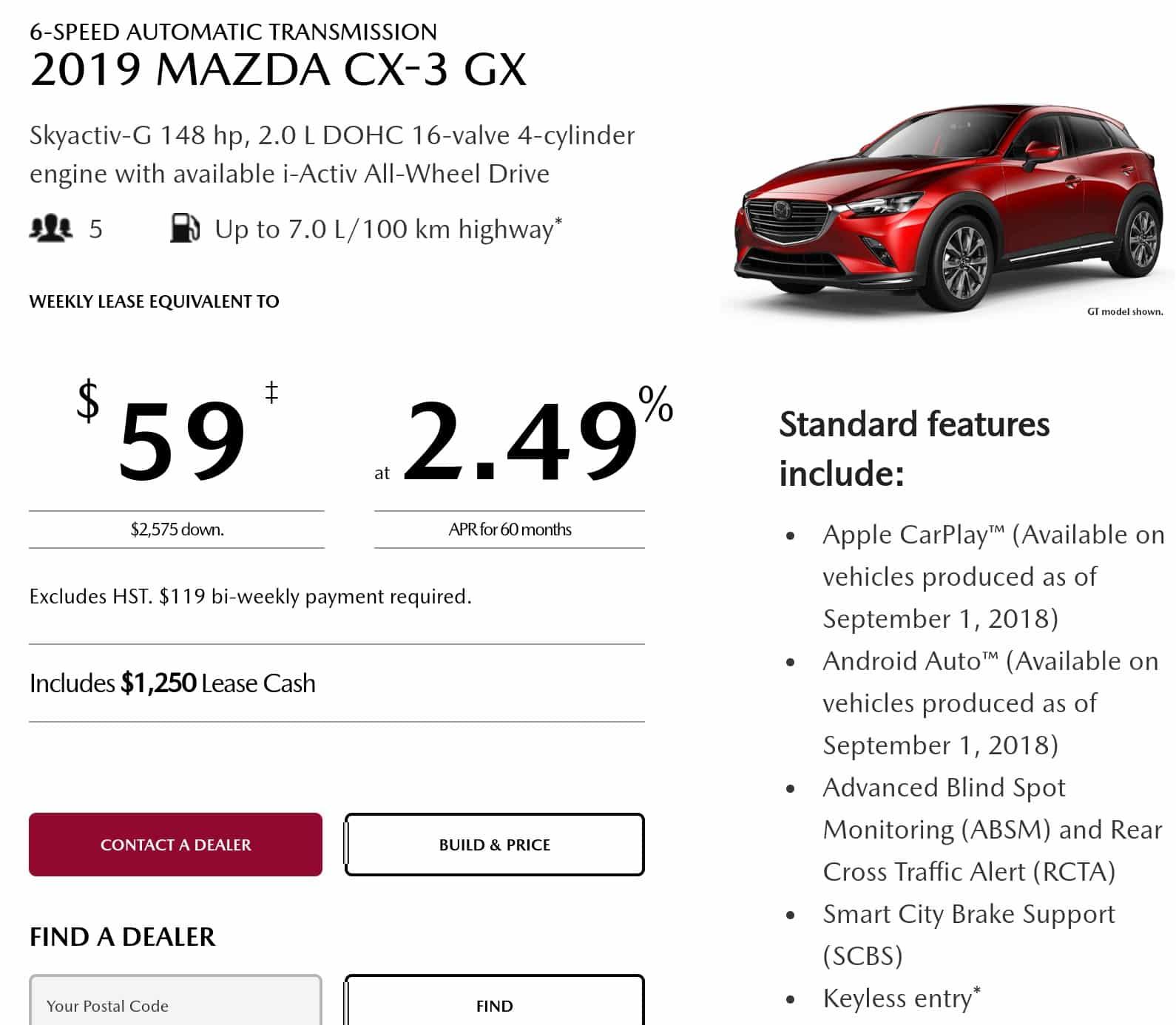 2019 Mazda CX 3 Lease Deals Ontario
