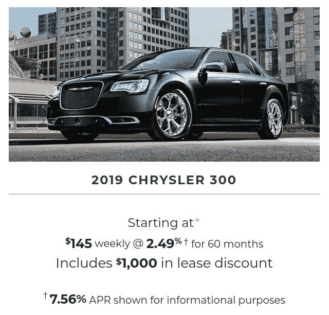2019 Chrysler 300 is a great lease or finance deal in Canada