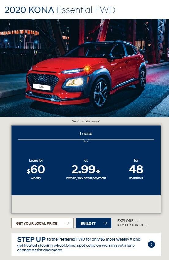 2020 Hyundai Kona car deal in Ontario