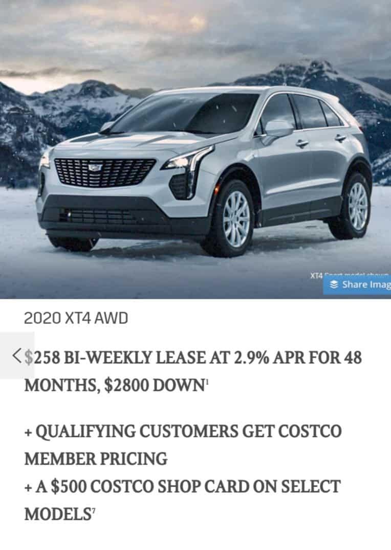 Cadillac XT4 2020 Lease Deals, in Ontario, Canada