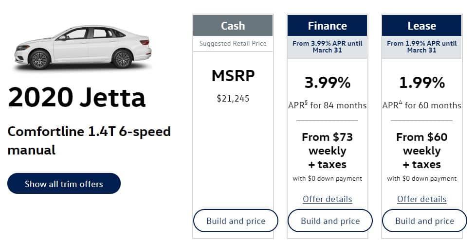 2020 Volkswagen Jetta Lease Deals