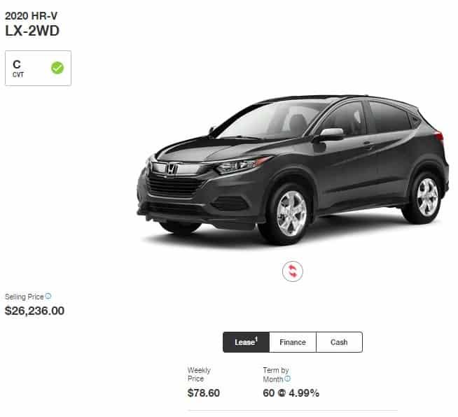 2020 Honda HRV Lease Deals In Ontario