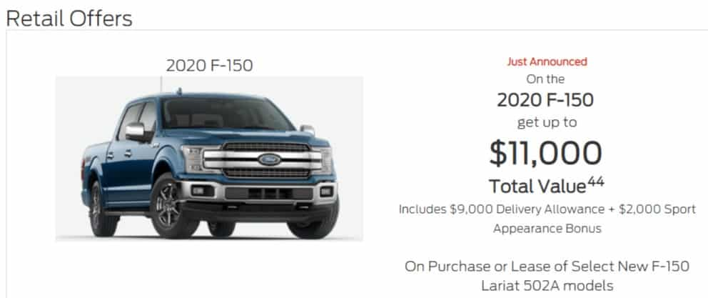 2020 Ford F150 Lease Deals in Ontario