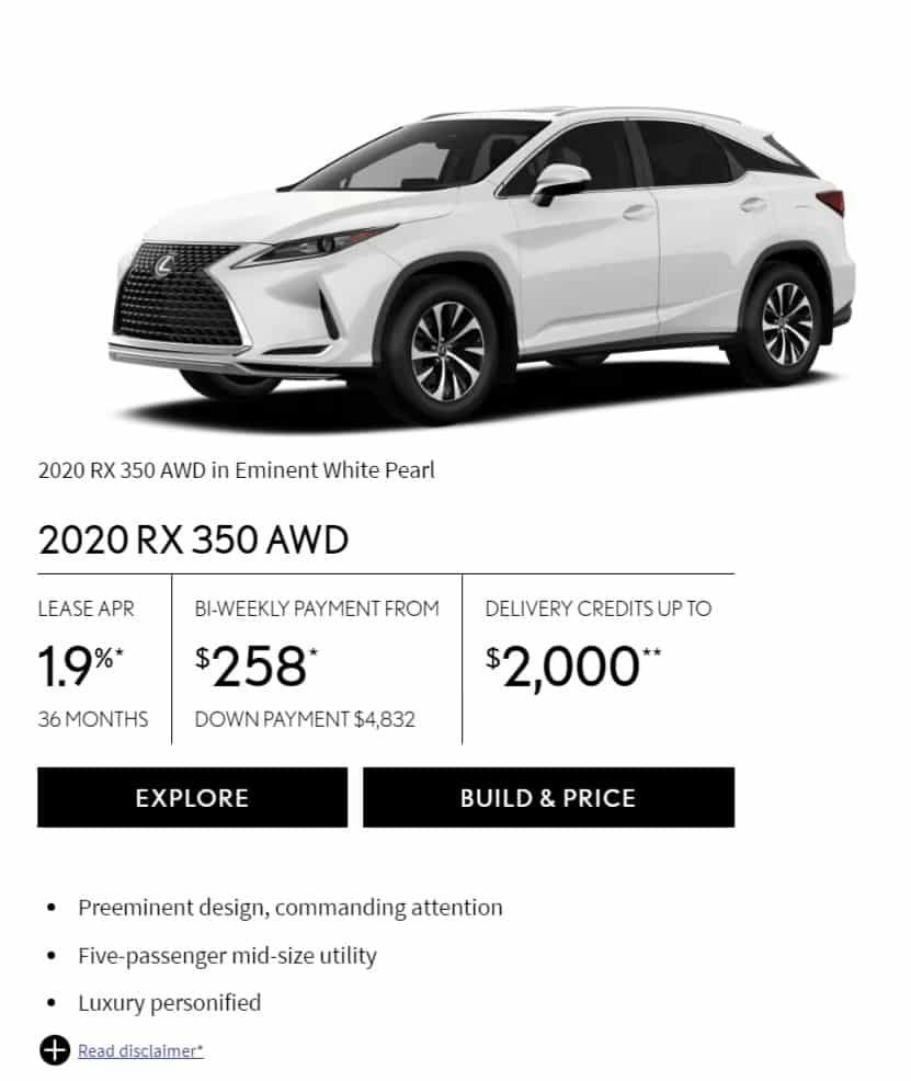 2020 Lexus RX 350 Lease Deals