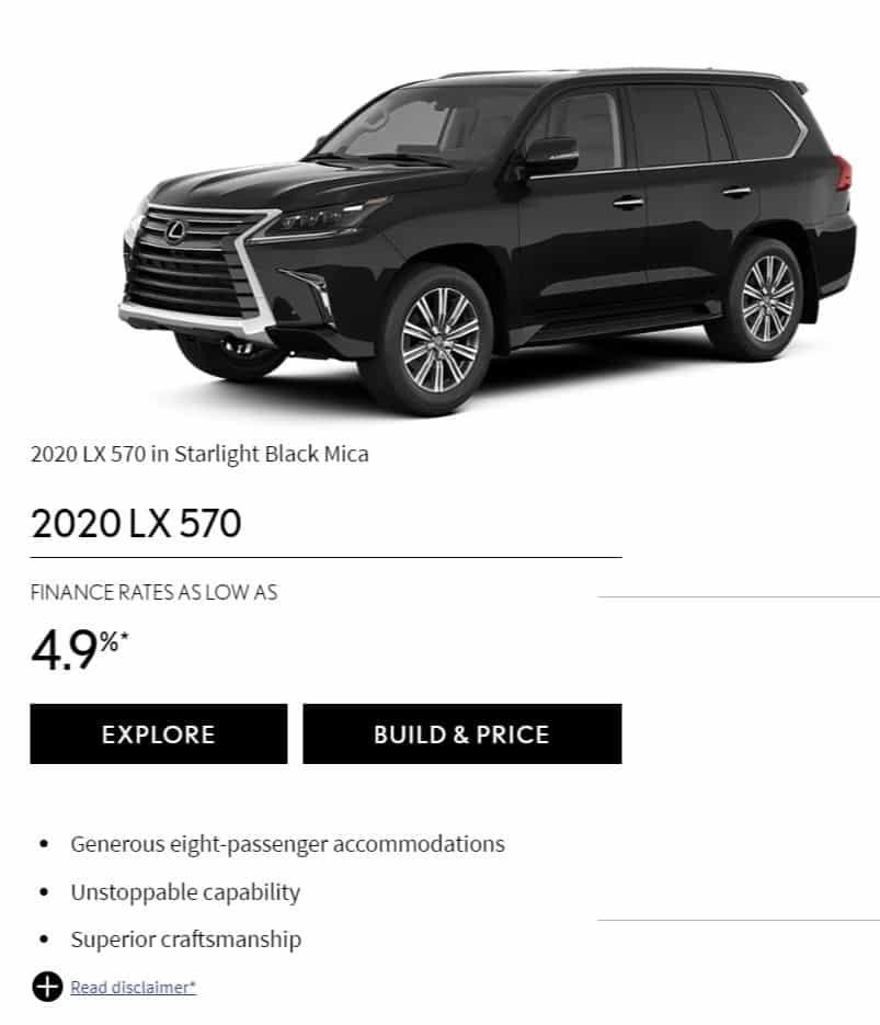 2020 Lexus LX 570 Lease Deals