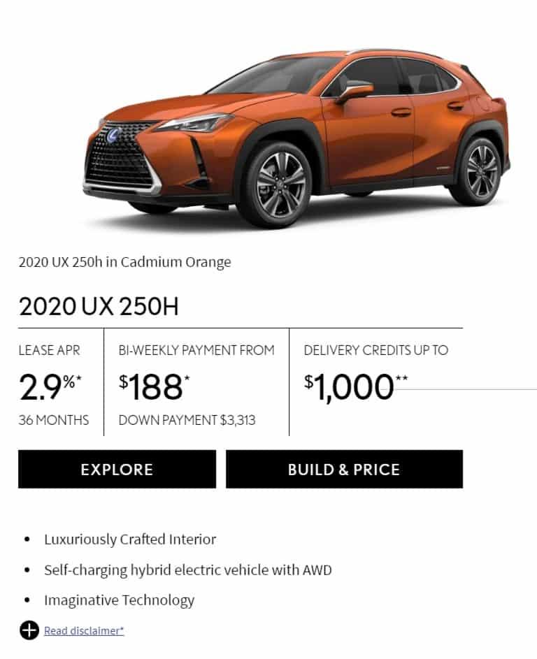 2020 Lexus UX 250H Lease Deals