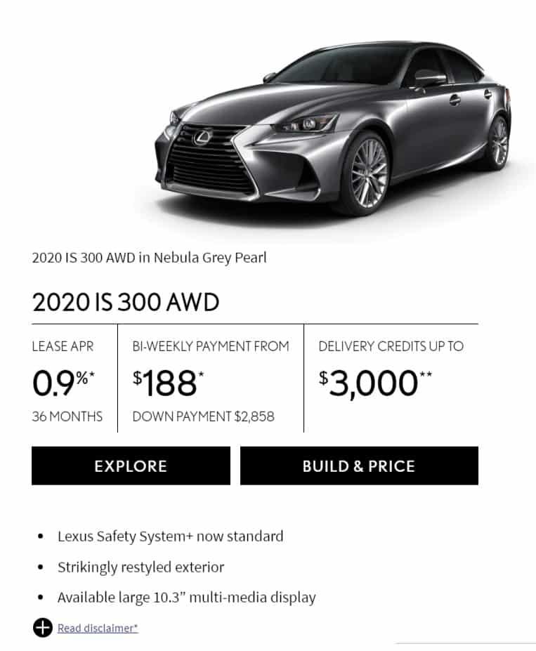 2020 Lexus IS 300 Lease Deals