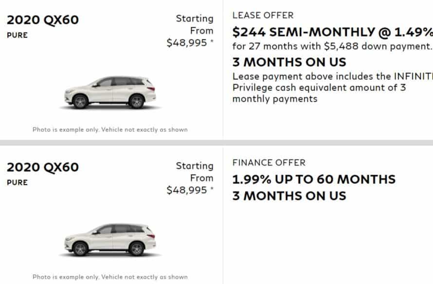 2020 Infiniti Lease Deals & Finance Offers